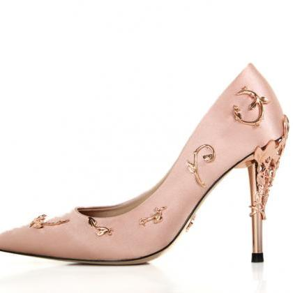 Pink satin bridal wedding shoes ede..