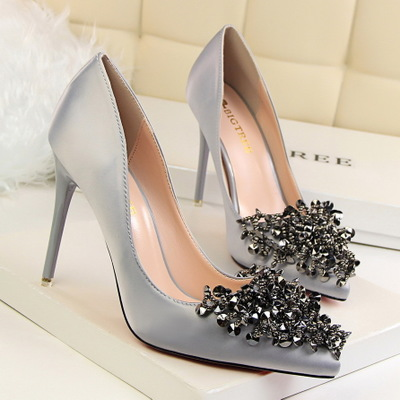 crystal beaded satin wedding shoes ..