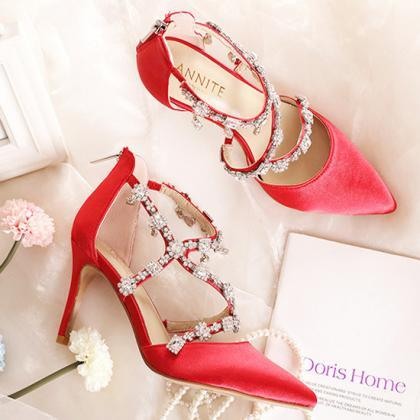 crystal beaded bridal wedding shoes..