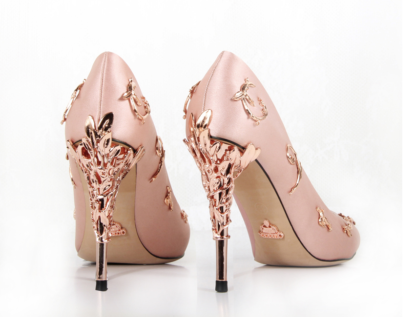 Pink satin bridal wedding shoes eden pumps high heels with leaves shoes for evening/prom/party