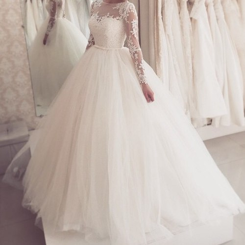 Ball gown 2016 tulle wedding dresses crew neck sheer long for Crew neck wedding dress