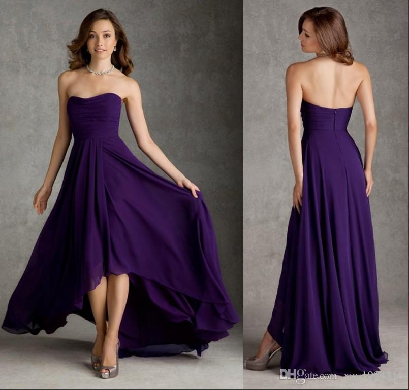 Cheap Bridesmaid Dresses Chiffon Dark Purple High Low A Line ...