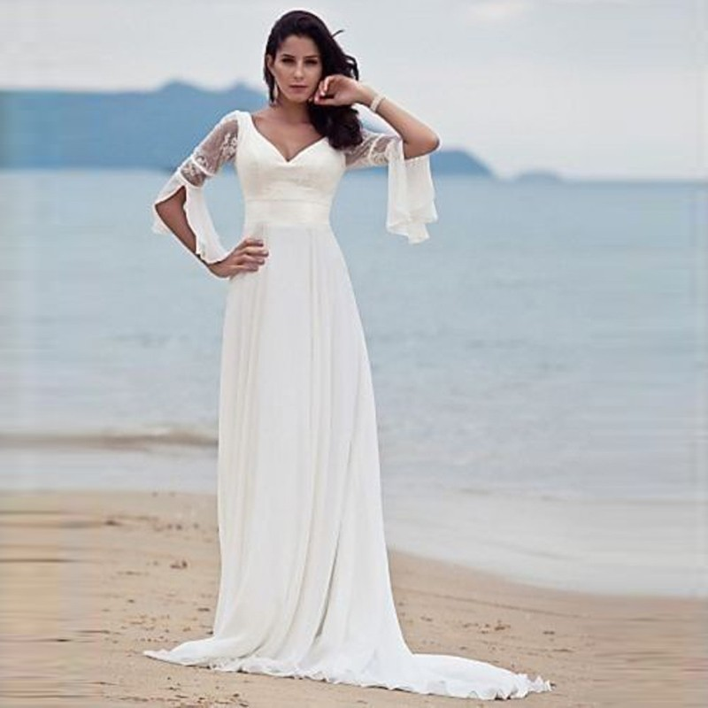 2016 New Hot Selling Custom Made Wedding Dresses Vestido de Noiva Casamento Robe De Mariage Chiffon V-neck