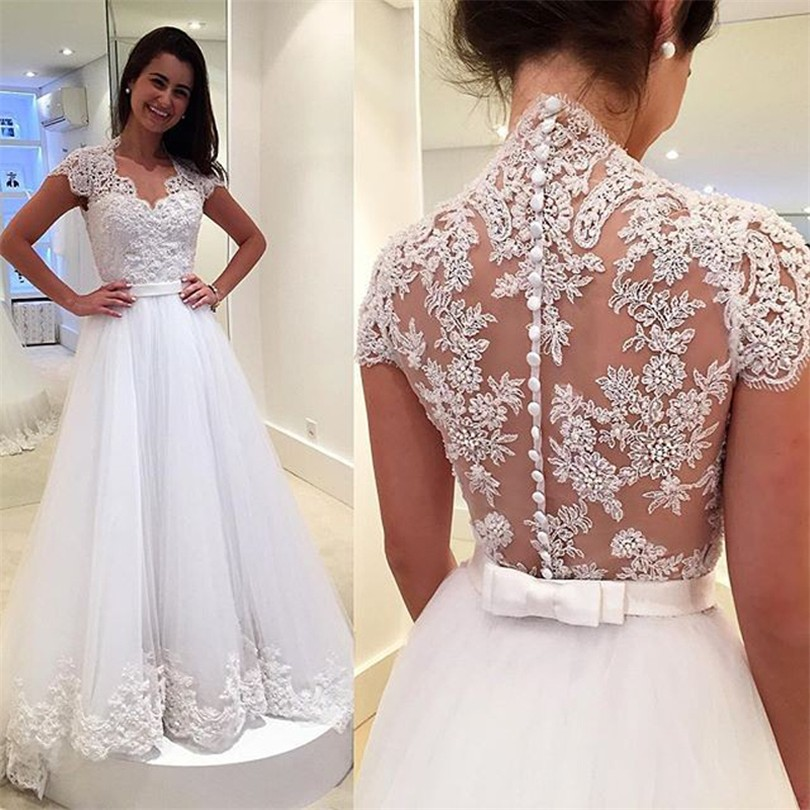 Vintage Bridal Lace Wedding Dresses Bride With Short Sleeves Tulle