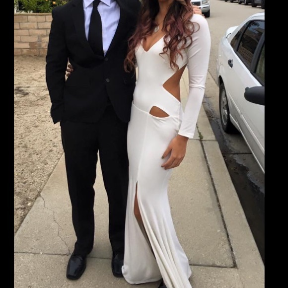 2016 Mermaid White Spandex Evening Dresses Long Sleeve Cutout Prom Dress Party Dress Long Formal Dresses
