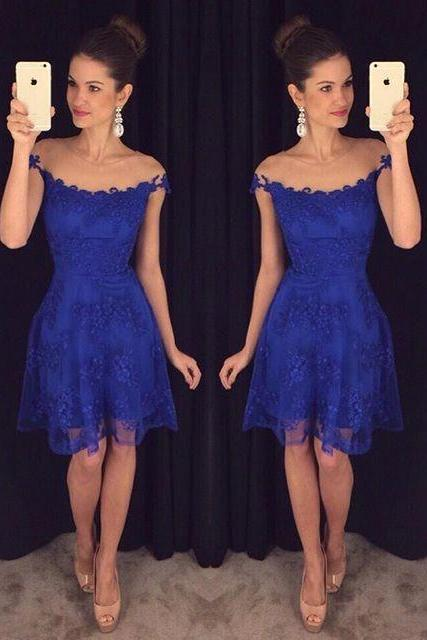 New Design Royal Blue Prom Dresses Lace Short Elegant Party Dress Women Pageant Gowns