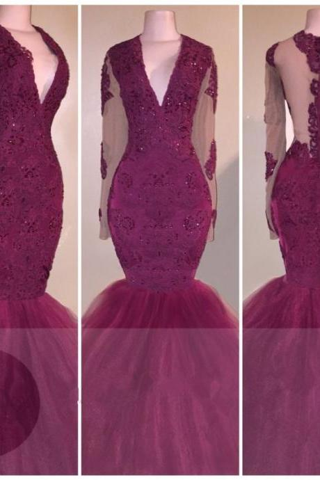 Wine Red Evening Dress Long Sleeve Plunging V Neck Tulle Mermaid Party Dresses Formal Gown