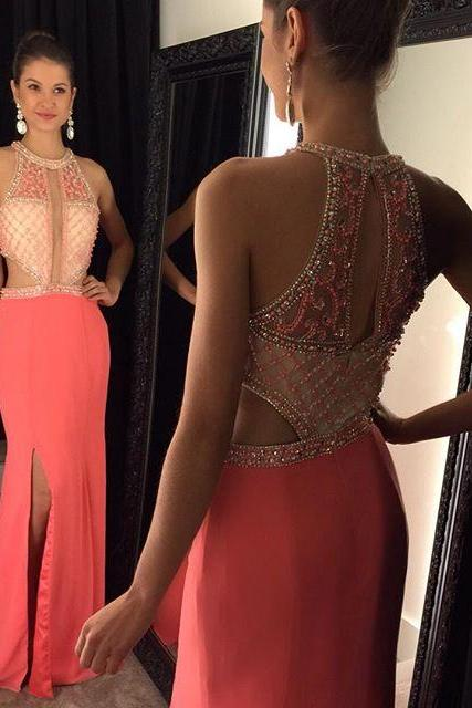 Sexy Beading Halter Long Prom Dresses New Design vestido de festa longo Elegant Women Evening Dress Party Gown