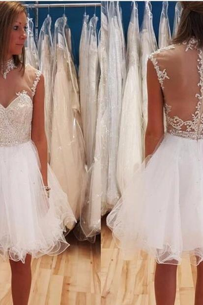 Puffy Short Homecoming Dresses Sheer Back White Ball Gown 8 Grade Graduation Dress Illusion Neckline Teens Party Gown
