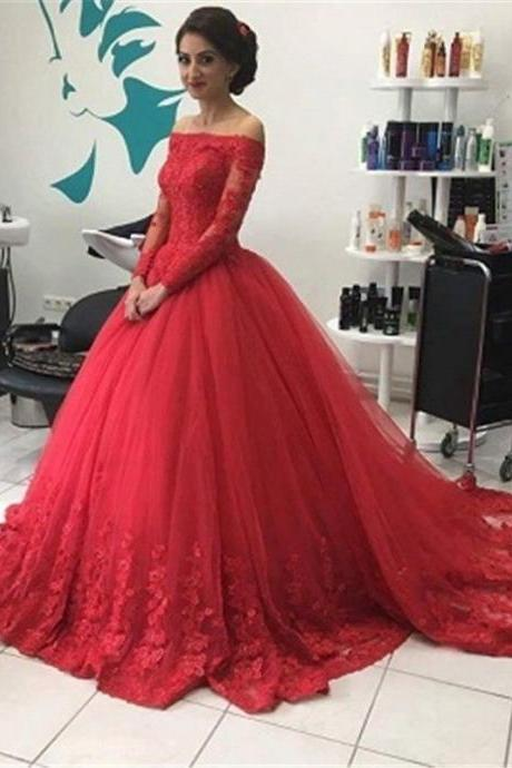 Fashionable New Long Evening Dress Off the Shoulder Long Sleeves Lace Tulle A-Line Prom Party Dresses Sweep Train