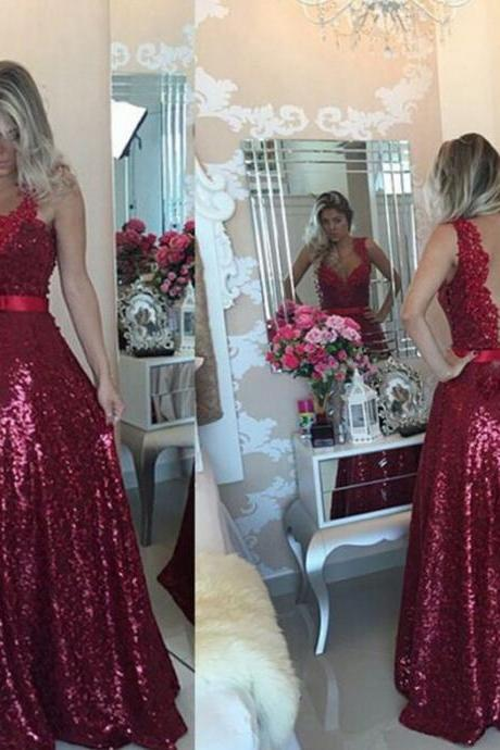 Fashion Illusion O Neck Appliqued Lace Evening Dress Sleeveless Sheer Back A Line Bling Bling Formal Prom Dresses