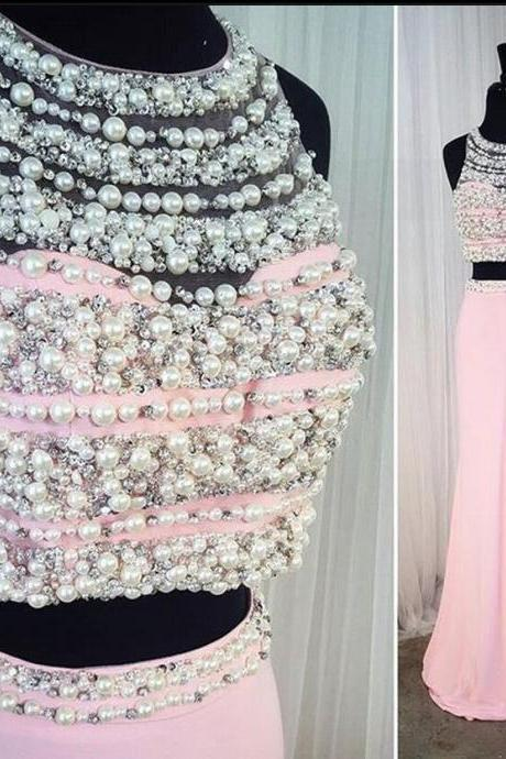 Gorgeous Pink Two 2 Piece Prom Dress Beaded Pearls Evening Party Dresses Long Homecoming Dress Robe de soiree Graduation