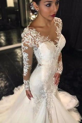 Long Sleeve Mermaid Wedding Dresses Illusion Vestido De Noiva De Renda O-Neck Sheer Bridal Gowns Handmade