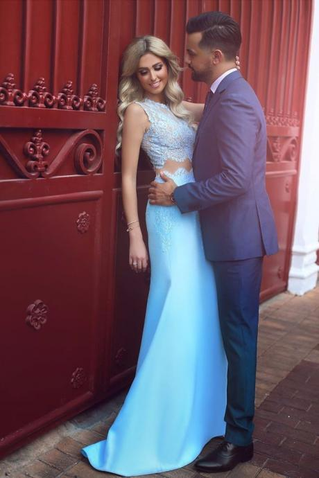 Sky Blue 2 Piece Prom Dresses Mermaid Style Sexy Sheer Vestido Formatura Girls Imported Party Dress Satin Evening Gowns