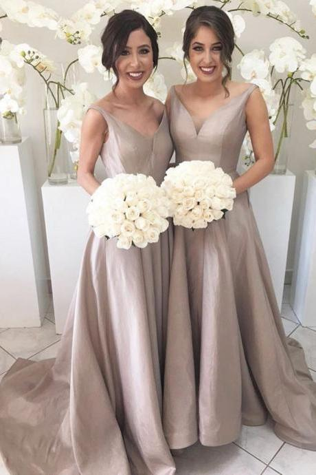 Cheap V-Neck A-Line Bridesmaid Gowns Peach/Champagne/Silver/Coral/Burgundy/Pink/Gold Satin Bridesmaid Dresses