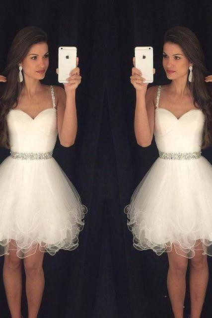Sweetheart Prom Dresses Puffy Short White Spaghetti Straps Beaded Crystals Ruffles Graduation Party Dress Cheap