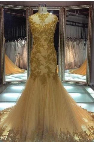 Prom Dresses High Neck Evening Dresses Backless Formal Gowns with Cap Sleeves Gold Mermaid Mother of the Bride Dresses Evening Wear