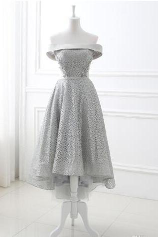 Cap Sleeve Lace Hi-Low Prom Dresses Tea-length Prom Gowns Party Dresses Formal Women Dresses