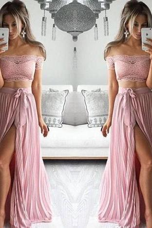 Latest Cap Sleeve Pink Long Prom Dresses Two Pieces Chiffon Lace Formal Prom Gowns Robe De Bal Party Evening Dresses