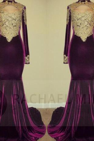New Arrival Purple Prom Dresses Mermaid Long Sleeve African High Neck Gold Appliqued Velevt Prom Dress Evening Gowns