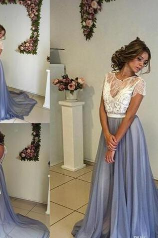 Latest Scoop Neck A-line Long Evening Dresses Short Sleeve Chiffon Backless Formal Evening Gowns Prom Dresses Vestido De Noche