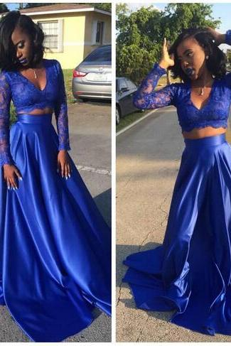 Royal Blue Two Pieces A-line Prom Dresses 2K17 Sexy Vestidos De Fiesta V-neck Long Sleeves A-line Evening Party Gowns