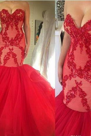 Red Sexy Sweetheart Prom Dresses Sequins Beaded Lace Tulle Mermaid Long Formal Backless Vestidos De Fiesta Evening Party Dresses