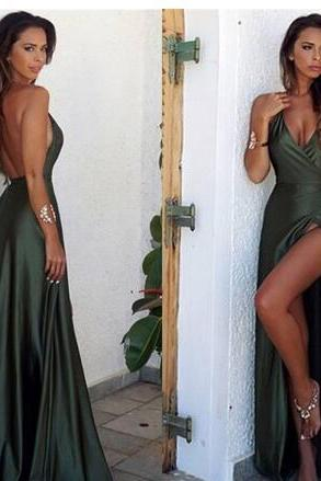 Simple Hunter Front Split Elegant Evening Dresses Sexy Sheath V Neck Backless Long Prom Dresses Summer Party Gowns