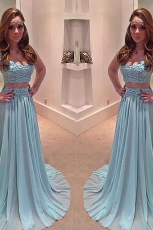 Two Pieces Teal Elegant Prom Dresses Sexy Sweetheart Cap Sleeves Chiffon A-line Evening Party Gowns Vestidos De Fiesta