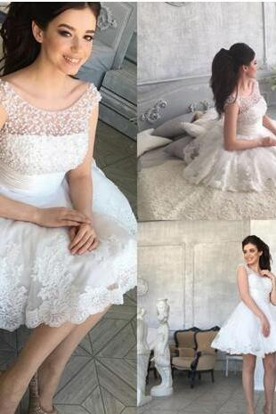 Vintage White Pearls Homecoming Dresses 2018 Lace Appliqued Jewel Neckline Cheap A Line Short Prom Evening Gowns
