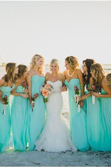 Bridesmaid Dresses Beach Party Dress With A Line Ruffle Sweetheart Neck Zip Back Floor Length Chiffon Cheap Sale party gowns