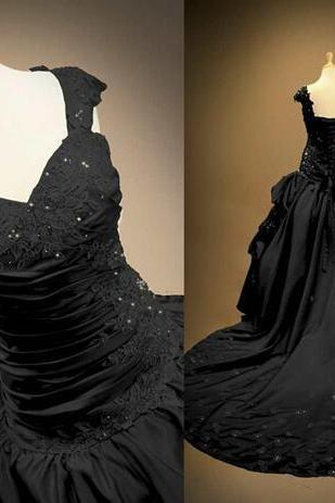 Real Photo Black Gothic Wedding Dresses Lace Appliques Beads Cathedral Train Pleats Draped Formal Bridal Party Gowns 2018 Custom Made newest