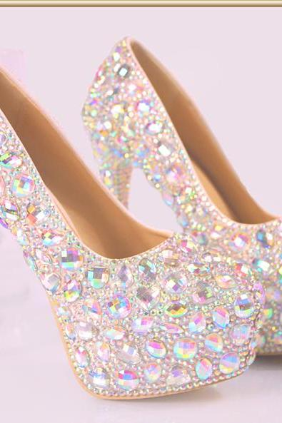 2018 White Luxury Bling Women Pumps 10cm High Heels Wedding Shoes Beaded Crystals Pointed Toe High Heel Cinderella
