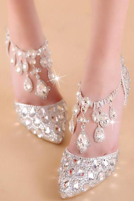 2018 In Stock Sparkle Women Pumps 10 cm High Heels Wedding Bridal Shoes Crystals Lace Pointed Toe High Heels