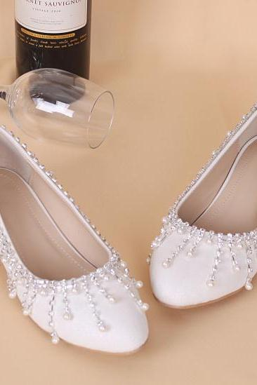 Pearl and Crystal Embellished Ballerina Bridal Shoes
