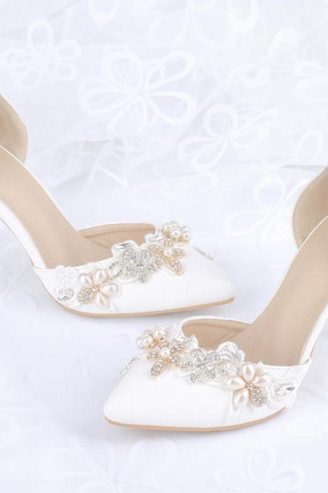 White Pointed-Toe Crystal Beaded d'Orsay Wedding Heels, Stiletto Pumps