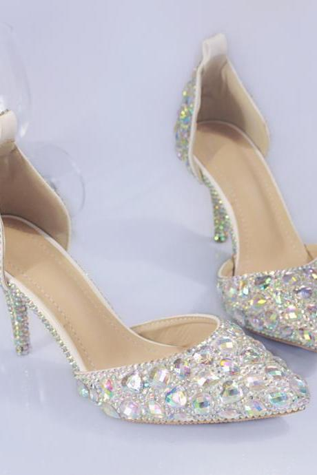 2018 In Stock Sparkle Wedding Heels Women Pumps 10cm High Heels Wedding Bridal Shoes Crystals Lace Pointed Toe High Heels