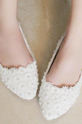 2018 In Stock Sparkle White Wedding Flat Shoes Women Wedding Bridal Shoes Crystals Lace Pointed Toe Flat Shoes