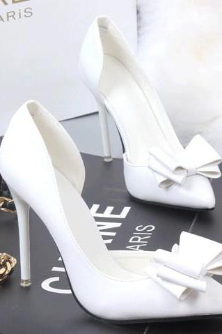White Bow Accent Pointed-Toe High Heel Stilettos