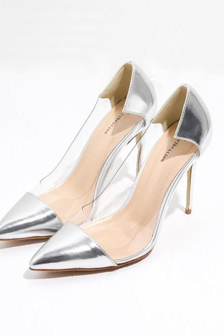 Silver Pointed-Toe Transparent Stilettos, High Heels