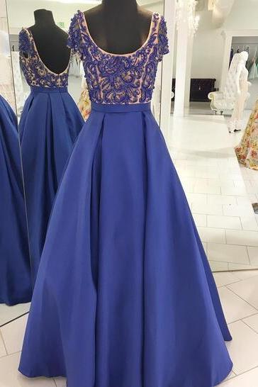 2018 Royal Blue Satin Prom Dresses Scoop Beading Crystals Evening Dress Formal Gowns Vestidos