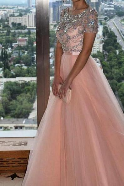 Sexy 2018 Light Pink A Line Tulle Prom Dresses Short Sleeve Beading Crystals Evening Dress Formal Gowns Vestidos