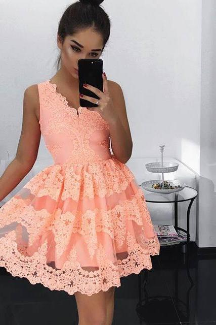 2018 Coral Ball Gown Homecoming Dresses V Neck Sleeveless Lace Bodice Mini Short Cocktail Dress Prom Dress Party Gowns Vestidos