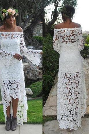 White Off-Shoulder Embroidered Lace High Low Long Wedding Dress with Bell Sleeves
