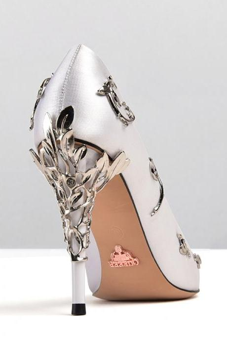 White satin bridal wedding shoes eden pumps high heels with leaves shoes for evening/prom/party