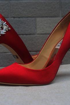Red Pointed Toe High Heel Bridal Pumps with Crystal Embellishments, Wedding Shoes, Prom Heels