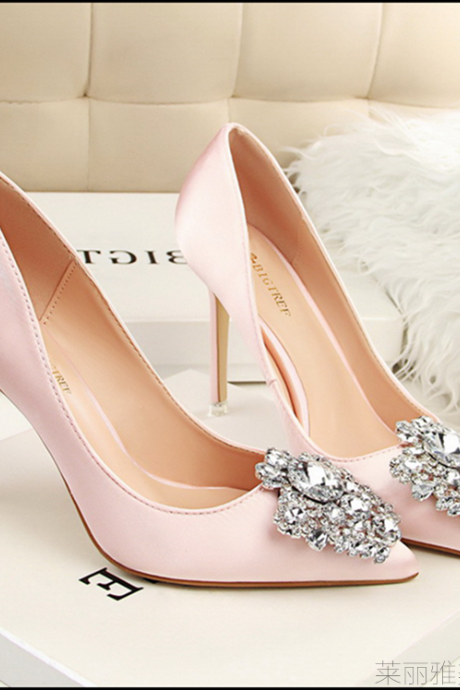Crystal Embellished Pink Satin Pointed-Toe High Heel Stilettos, Bridal Heels