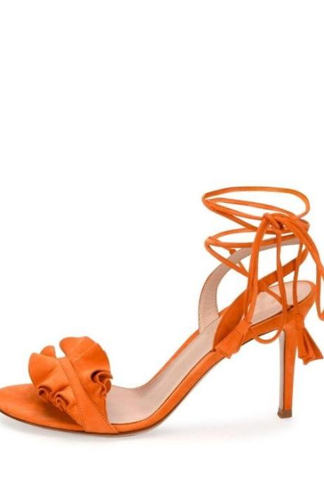 Women's Ruffled High Heel Lace-Up Sandals - Orange