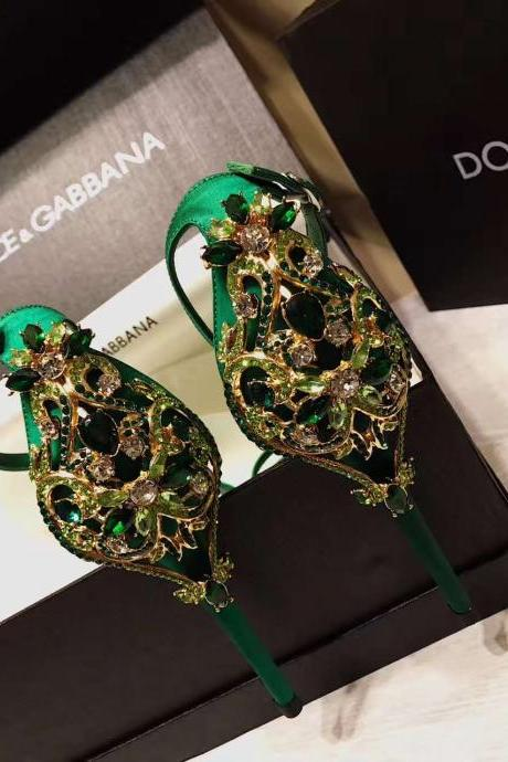 2017 new arrival green/black silk women crystal wedding shoes stiletto heel pumps formal shoes for wedding party prom