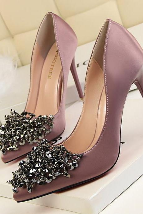 crystal beaded satin wedding shoes high heel pointed toe bridal shoes for bridesmaid prom party evening dinner